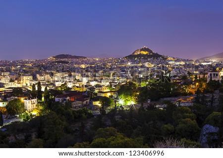 City of Athens,night view - stock photo