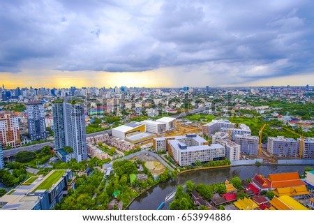 city of bangkok and blue sky with clouds in the morning