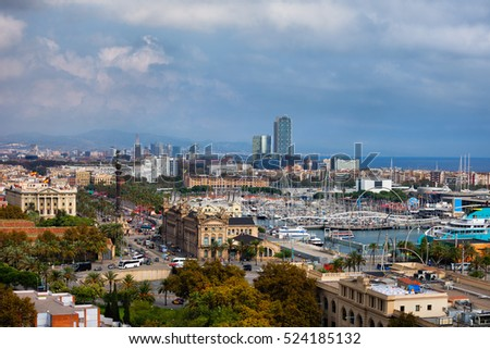 City of Barcelona cityscape and skyline in Catalonia, Spain