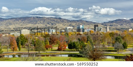 City of Boise and PArk in the fall - stock photo