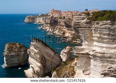 City of Bonifacio, side view from the lighthouse - stock photo