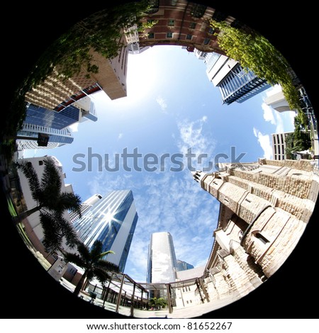 City of  Brisbane in Architecture.   Old and New skyscrapers - stock photo