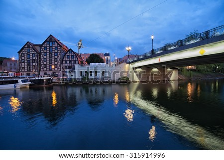 City of Bydgoszcz in the evening in Poland, Granaries at the Brda River waterfront.