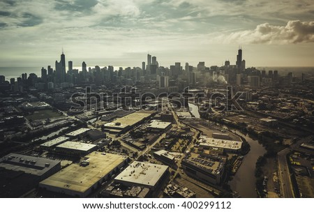 City of Chicago aerial view, vintage colors - stock photo