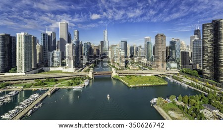 City of Chicago Skyline aerial view with Chicago River - stock photo