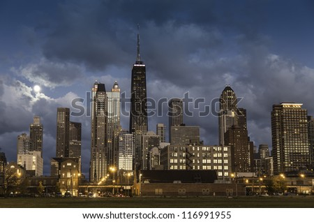 City of Chicago skyline at dusk
