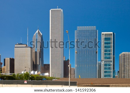 City of Chicago USA, panorama of downtown buildings on a beautiful summer day  with blue sky - stock photo
