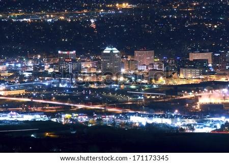 City colorado springs skyline night downtown stock photo - Olive garden colorado springs co ...