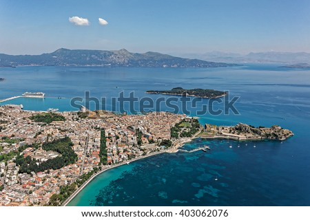City of Corfu, Kerkyra, Greece, aerial view