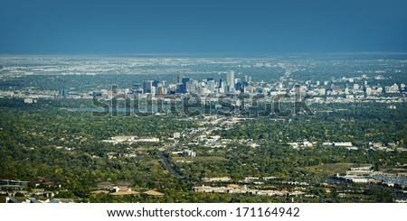 City of Denver Panoramic View on East. Denver, Wheat Ridge, Arvada, Applewood and Lakewood Colorado. American Cities Photo Collection.  - stock photo