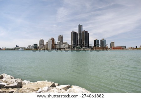 City of Detroit from Canada - stock photo