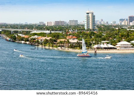 City of Ft. Lauderdale along intercoastal waterway and Port Everglades. - stock photo