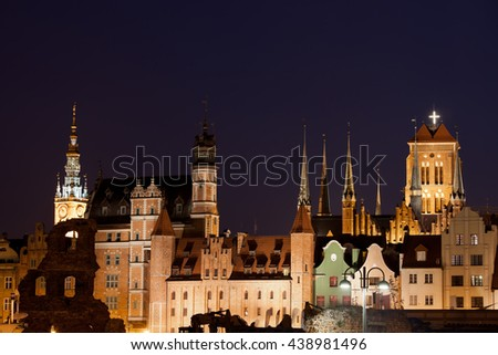 City of Gdansk by night in Poland, Old Town skyline