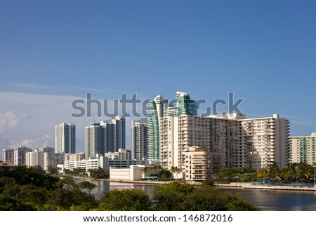 City of Hallandale Florida USA, panorama of buildings on a sunny summer day