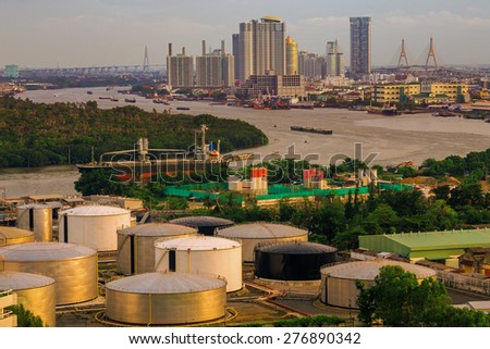 City of Industry Oil storage tanks, Bangkok Thailand - stock photo