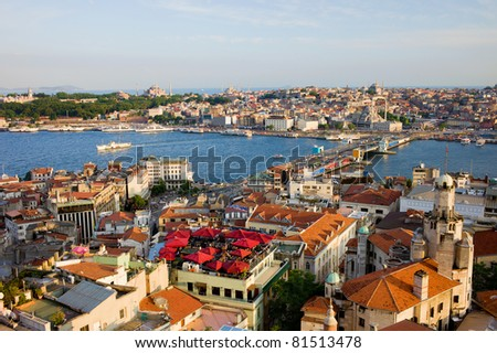 City of Istanbul in Turkey, view from the Beyoglu district over the Golden Horn and Galata bridge - stock photo