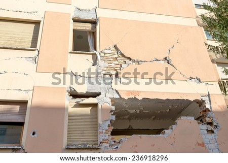 City of L'Aquila, Earthquake effects, Abruzzo Italy - stock photo