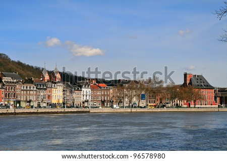 city of Liege on the river Meuse, Belgium, - stock photo