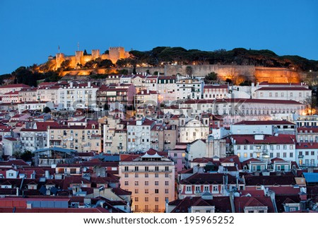 City of Lisbon at dusk in Portugal. - stock photo