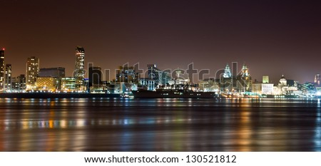 City of Liverpool at night - stock photo
