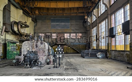 City of Lodz, Poland, November 11, 2014. The old destroyed and abandoned factory Scheibler. Natural HDR - high dynamic range - stock photo