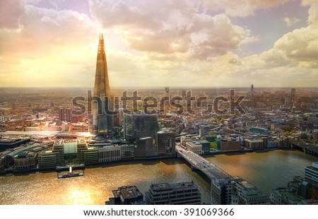 City of London aerial view, Shard and river Thames.  - stock photo