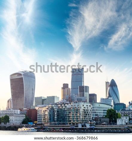 City of London at dusk. - stock photo