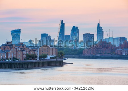 City of London business and banking aria at sunset. Panoramic view  - stock photo