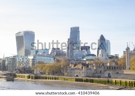 City of London, one of the leading centres of global finance, at sunset. View includes Tower 42 Gherkin,Willis Building, Stock Exchange Tower Lloyd`s of London and Walkie Talkie - stock photo