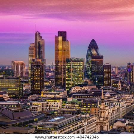 City of London one of the leading centres of global finance.this view includes :Tower 42 Gherkin,Willis Building, Stock Exchange Tower and Lloyd`s of London - stock photo