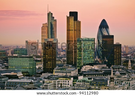 City of London one of the leading centres of global finance.this view includes Tower 42 Gherkin,Willis Building, Stock Exchange Tower and Lloyd`s of London - stock photo
