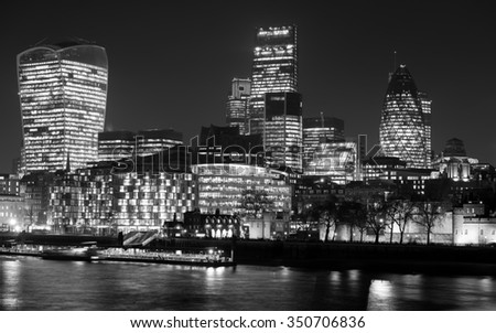 City of London seen from Tower Bridge in London, UK. - stock photo