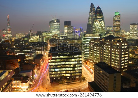 City of London Skyline At Sunset. Long exposure shot. - stock photo