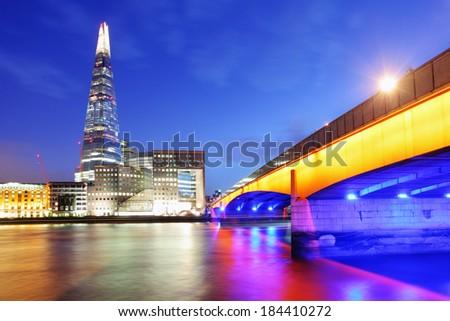City of London skyline at sunset, UK - stock photo