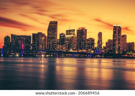 CIty of Miami at sunset, special photographic processing - stock photo