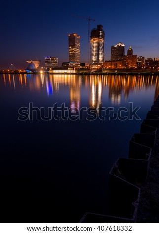 City of Milwaukee Wisconsin at Night vertical composition - stock photo