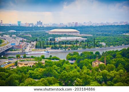 City of Moscow. Moscow River, Luzhniki sports complex - stock photo