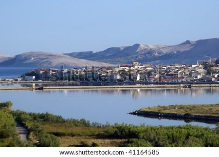City of Pag, Adriatic island Pag Croatia - stock photo