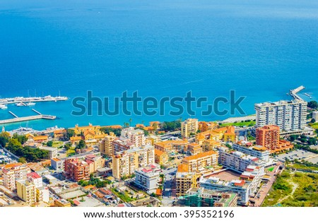 City of Palermo by sea, Sicily island of Italy - stock photo
