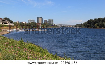 City of Portland - View of Southwest Portland as seen from along the Willamette River. - stock photo