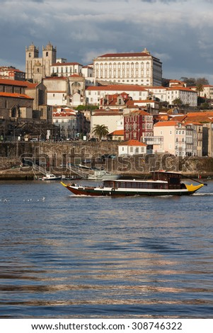 City of Porto skyline from the river Douro in Portugal.