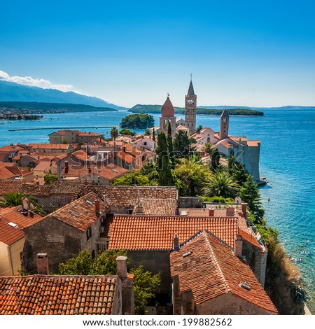 City of Rab, on an island Rab in Croatia, view at old city center - stock photo