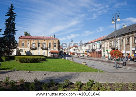 City of Radom in Poland, park and buildings along Zeromskiego Street, cityscape