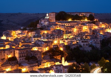 City of Ragusa at dusk, world heritage site - stock photo