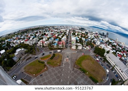 city of Reykjavik, Iceland, from above - stock photo