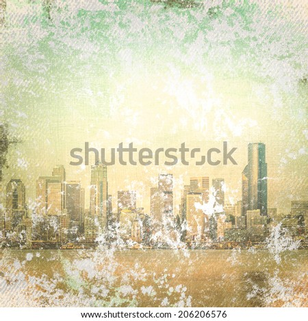 City  of seattle on  grunge background