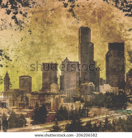 City  of seattle on  grunge background - stock photo