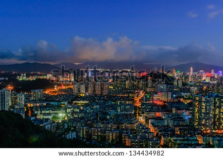 City of Shenzhen,At night, the lights shining in Shenzhen exceptionally beautiful