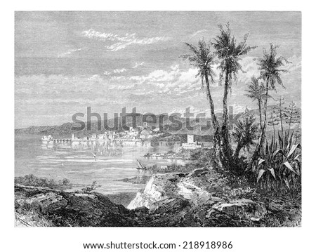 City of Sidon in Lebanon, view from the south of Syria, along the Mediterranean coast, vintage engraved illustration. Le Tour du Monde, Travel Journal, 1881 - stock photo