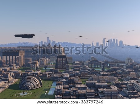 city of the future - stock photo